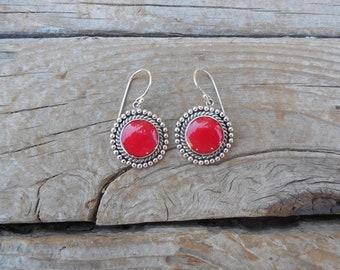 Red sponge coral earrings handmade in sterling silver 925