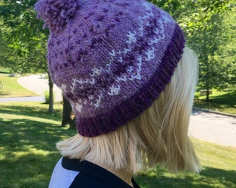 PURPLE WOOL HAT, Fair isle pompom hat, nordic wool hat, Woman's fair isle hat, Teen ski hat, wool winter hat, hand dyed wool, loopsnswoops