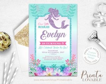 DIGITAL Mermaid Invitation, Little Mermaid Birthday Invitation, Mermaid party, Mermaid  birthday, Mermaid  printables