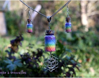 """Finery """"Rainbow"""" colored salt * necklace and earrings"""
