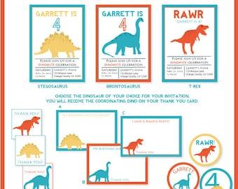DIY Dinosaur Printable Party Bundle: Blue, Orange, Yellow, T-Rex, Brontosaurus, Stegosaurus, Birthday, Babyshower, Modern