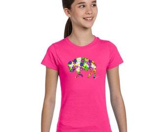 Girl Youth T-shirt Flower Buffalo Alison Kurek pink colorful mosaic flowers pretty