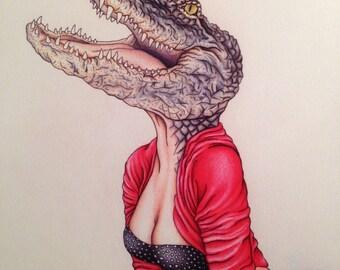 Burlesque Pinup Artwork Alligator (Mature) 11x14 Art Print