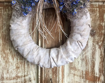 Spring Wreath, Summer Wreath, Front Door Wreath, Lace and Jute Wreath