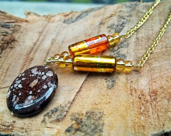 Romantic Gold Necklace with Speckled Shell Disk Bead and Amber Orange Glass Beads