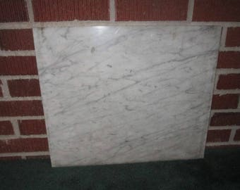 Antique Large 19x16x3/4 Solid White Italian Marble Slab for Pastry Board or Furniture Assemblage