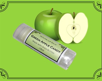 GREEN APPLE CANDY Lip Balm made with Shea Butter - .15oz Oval Tube