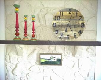 Industrial Rustic Reclaimed Wooden Pallet Wall Clock