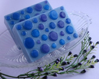 Blueberry  Bliss Soap made with Goats Milk - Glycerin Soap - Handmade Soap -Polka Dot Soap - Blueberry Soap - Artisan Soap -  SoapGarden