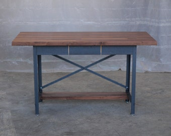 Walnut Industrial Engineering Work Station Desk Table
