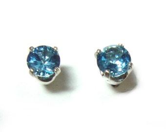 Blue Topaz 4mm sterling post earrings