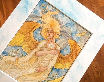 Matted Embellished Print Art Nouveau Angel Angelic Vision Winged Woman with Feathers and Dress Whimsical Watercolor Decorative Art