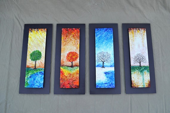 The Four Seasons Fused Glass Wall Art With Textured Relief