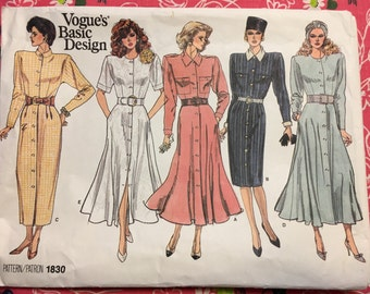 VOGUE 1830 sizes 8-10-12 COMPLETE vintage dress pattern
