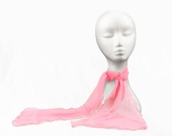 Vintage Pink Chiffon Scarf with curly, rolled edges