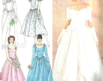 Wedding Gown Pattern 1990s Simplicity Vintage Sewing Bridesmaid Dress Uncut Women's Misses Size 8 - 14 Bust 31. 5 - 36 Inches