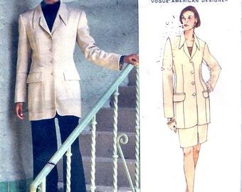 Below hip jacket designer suit Anne Klein skirt pants sewing pattern Vogue 1417 Bust 34 to 38  UNCUT