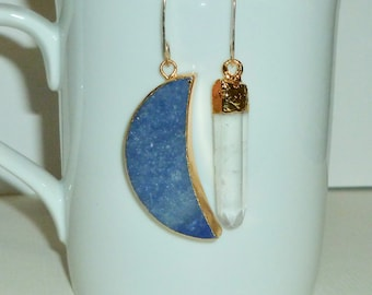 Mismatched Blue Moon and Crystal Quartz Point Earrings, Crescent Moon Earrings, Moon Jewelry, Crystal Quartz Earrings, Celestial Earrings