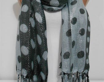 Mothers Day Gift For Her Sparkle Metallic Gray Scarf Shawl Wrap Polka Dots Scarf Fashion Accessory  Gift   For Mom For Mom Cowl Scarf