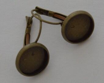 10 blank buckles antique bronze earrings 12mm cabochon