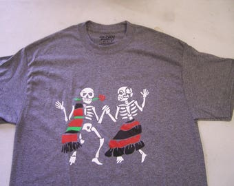 Day of the Dead T-Shirt - Skeletons Dancing Fandango - Gray