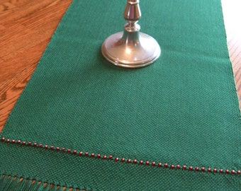 Christmas Table Linen, Woven Dresser Scarf, Christmas Holiday Table Runner, Hand Loomed Table Runner, Christmas Decor, Holiday Table