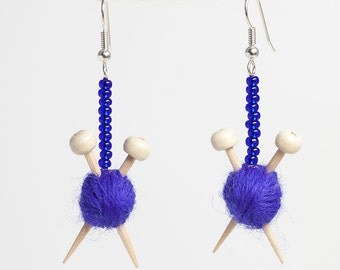 Purple Wool Knitting Earrings - Yarn ball and Knitting Needle