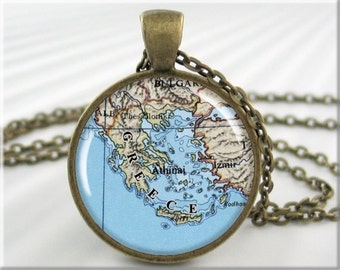 Greece Map Pendant, Greek Islands Map Necklace, Picture Jewelry, Round Bronze, Gift Under 20,  (747RB)