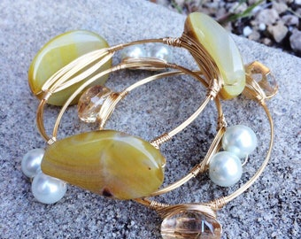 Gold Wire Wrapped Bangle Stack with Yellow Stone, Pearls, and Gold Glass Bead Bangles, Bourbon and Boweties Inspired