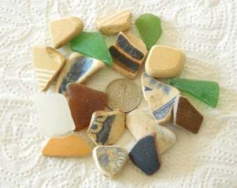 Pretty sea pottery and sea glass mix in greens, yellows, beige,  blue and brown for crafts