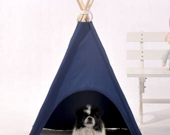 Navy dog teepee,pet teepee,dog tent