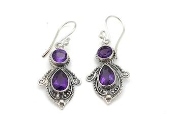 Sterling Silver and Amethyst Bali Earrings