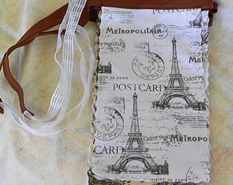 EIFFEL TOWER Toile OILCLOTH Pennants, Paris Postcard Cotton Back Brown Binding, Handmade Sturdy Wall Banner, 8 Tres Francais 7 x 12 Flags