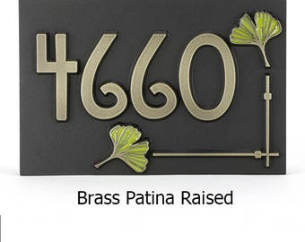 """Ginkgo Leaf House Numbers Address Plaque - 12"""" W x 8"""" H x 1"""" Thick"""