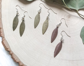 Simple and Whimsical Feather Earrings//cooper//rustic gold//gold//dainty//elegant