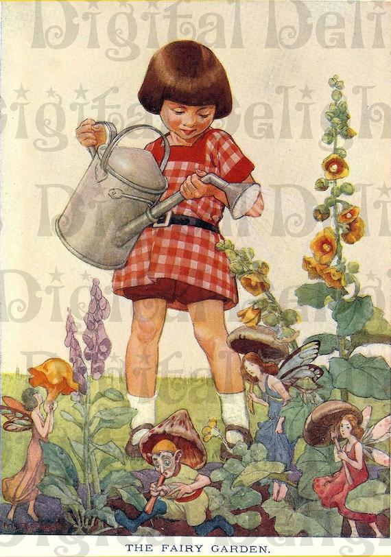 The FAIRY Garden. VINTAGE Illustration. Fairies DIGITAL