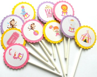 12 Pink Circus Cupcake Toppers, Circus Theme, Baby Shower, First Birthday, Circus Party, Circus Birthday, Girl Circus, Carnival Theme, Party