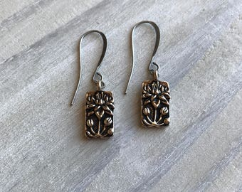 Lotus Flowers Earrings, Silver, Tierracast, Pewter