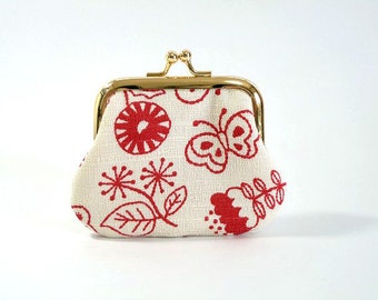 Flower and butterfly, metal frame purse, kiss lock purse