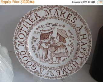 SALE A Good Mother Makes a Happy Home Brown English Plate Norma Sherman England Mother Gift Idea English China Brown
