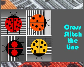 Minimalist cross stitch pattern of ladybirds inspired by Charley Harper. Contemporary design. Modern embroidery chart.