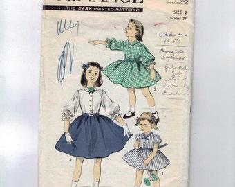 1950s Vintage Sewing Pattern Advance 7740 Girls Puff Sleeve Shirtwaist Dress Size 2 Breast 21 50s  99