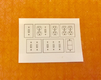 Dollhouse Miniature Light Switches and Wall Plugs. 1:12 Scale