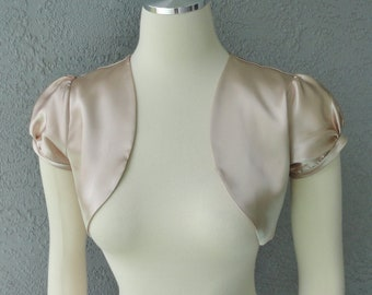 Champagne Color  Satin Bolero Shrug Made to Order All Sizes 16 Colors Available