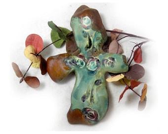 Wall Cross, green brown cross -  Home Decor Cross,  Ceramic green Cross , wall art cross - one of a kind wall cross - # 146