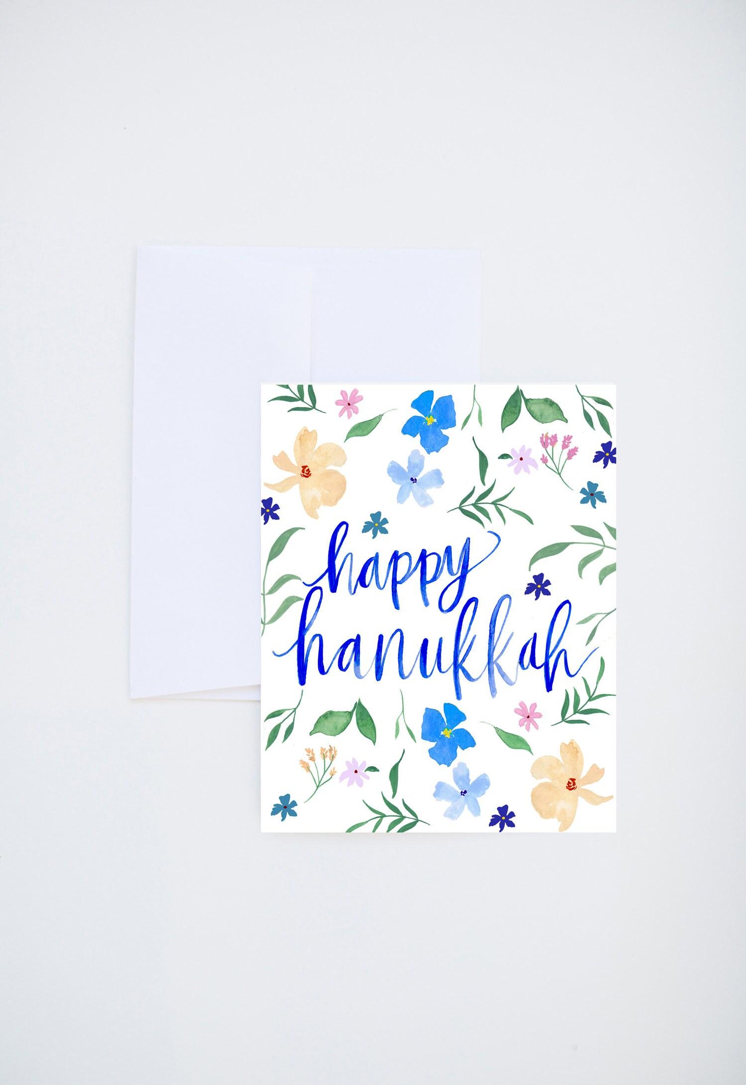 Holiday Greeting Cards Happy Hanukkah Floral Print