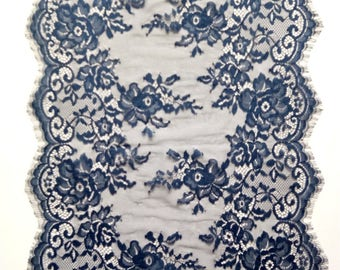 "Navy lace runner, navy blue lace runner, 13"" wide, wedding table runners , lace table runner,  wedding runners,  lace table runner,  JX92803"