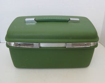 Vintage Samsonite Saturn Avocado Green Train Case Overnight Case Luggage