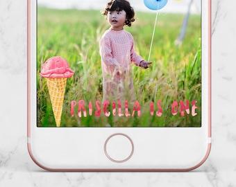 Ice Cream Birthday Snapchat Geofilter, Ice Cream Birthday Filter, Ice Cream Birthday Geofilter, Summer Geofilter, Summer Snapchat Filter,