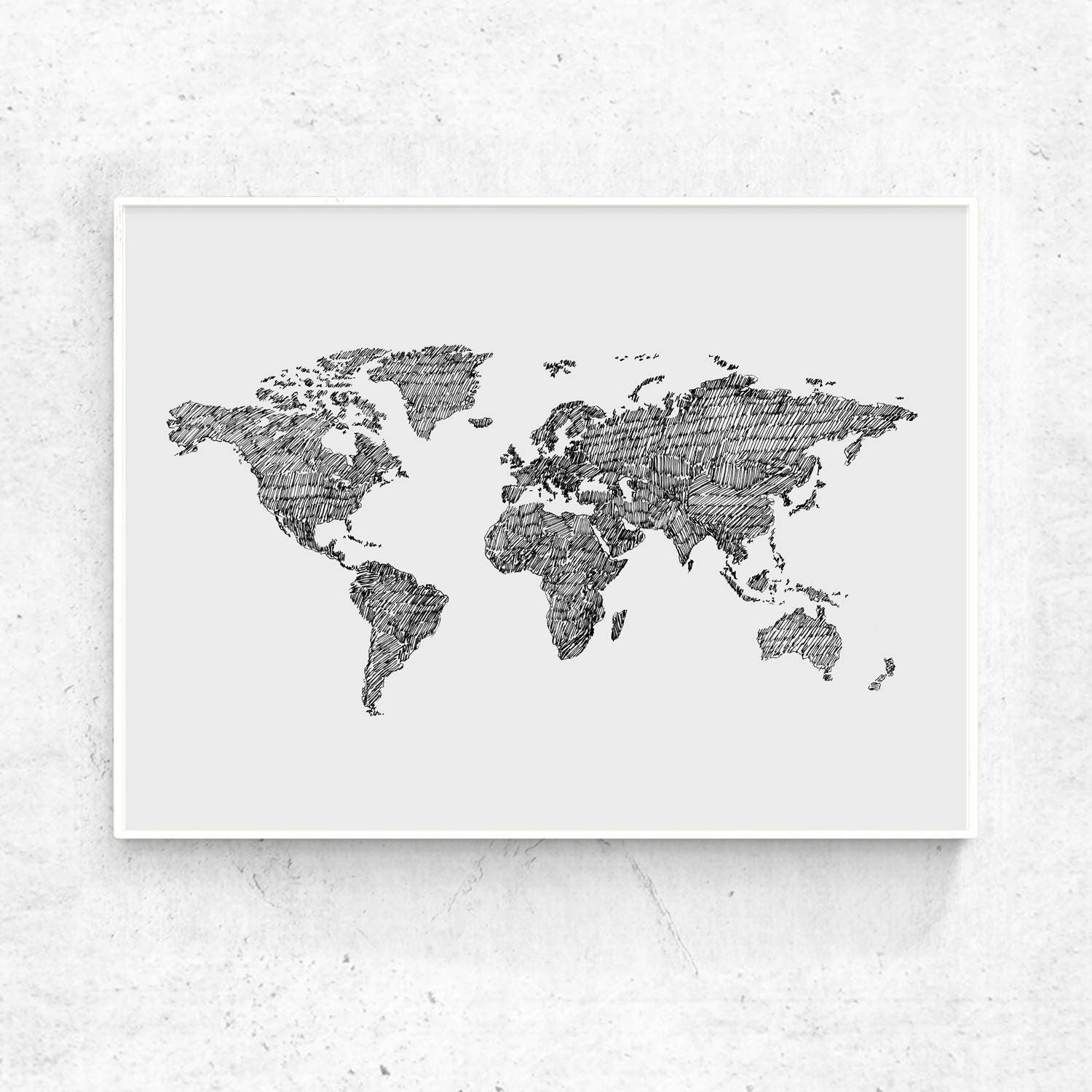 World map art print printable world map large print black ampliar gumiabroncs Gallery